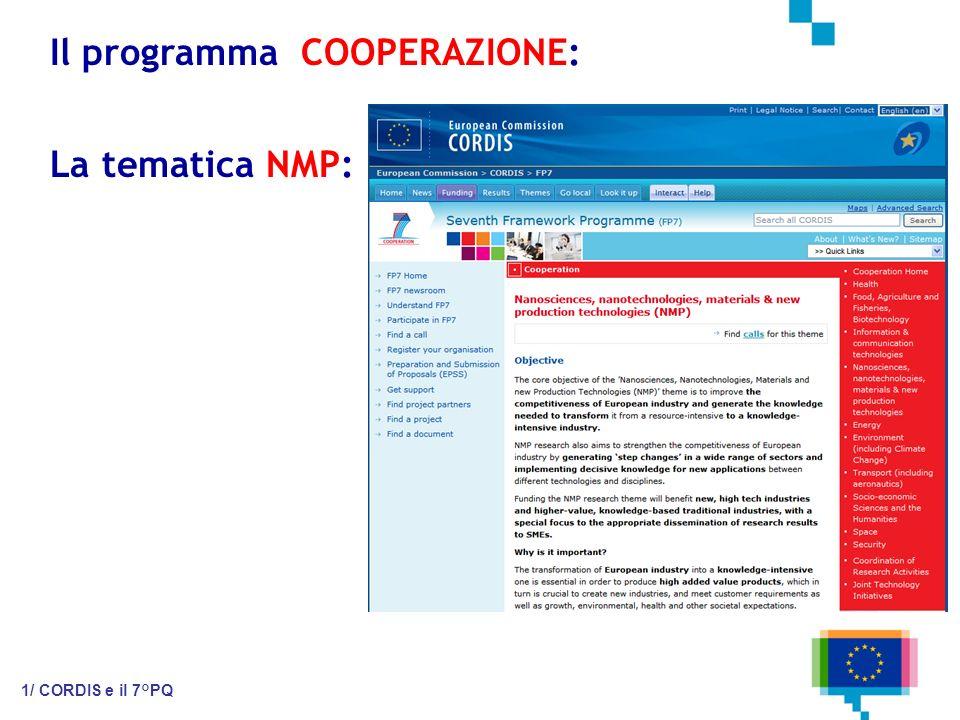 Il programma COOPERAZIONE: 1/ CORDIS e il 7°PQ La tematica NMP: