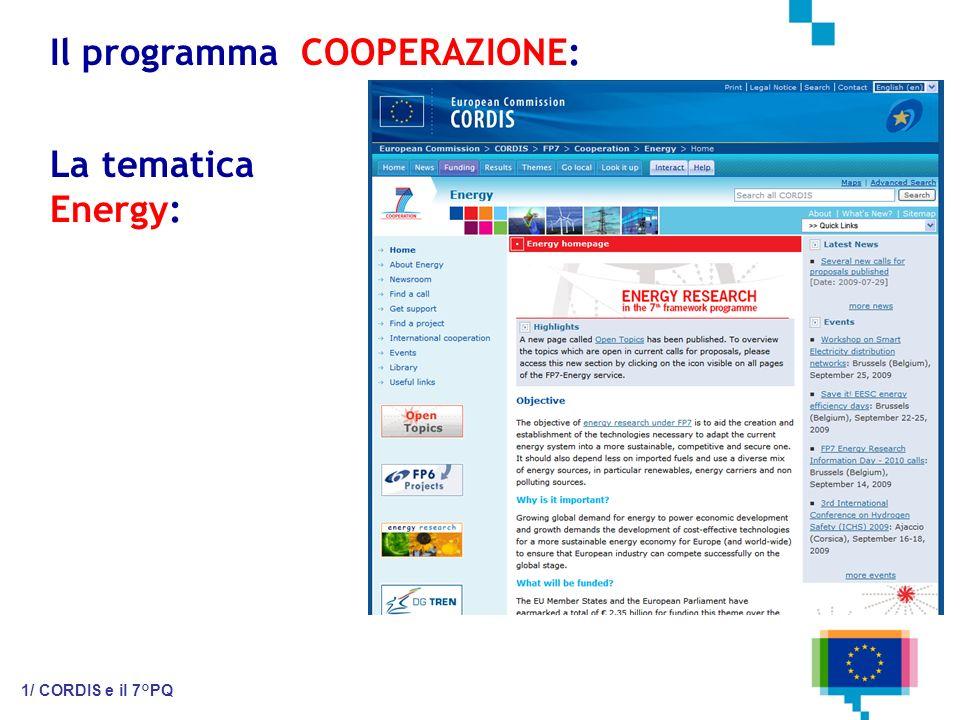 Il programma COOPERAZIONE: 1/ CORDIS e il 7°PQ La tematica Energy:
