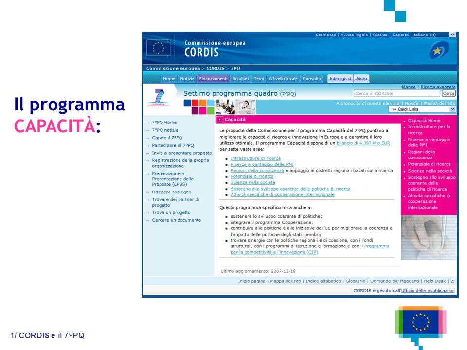 Il programma CAPACITÀ: 1/ CORDIS e il 7°PQ