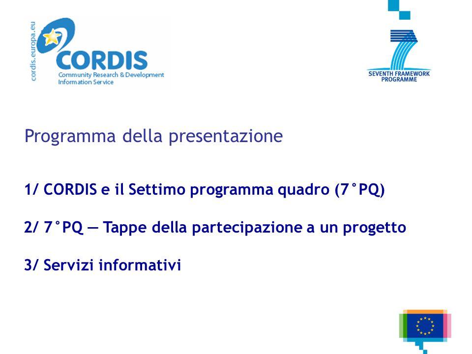 Programma della presentazione 1/ CORDIS e il Settimo programma quadro (7°PQ) 2/ 7°PQ Tappe della partecipazione a un progetto 3/ Servizi informativi