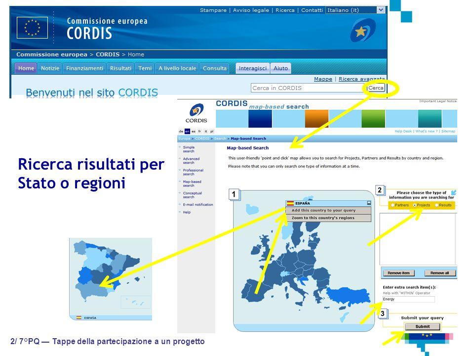 2/ 7°PQ Tappe della partecipazione a un progetto Ricerca risultati per Stato o regioni