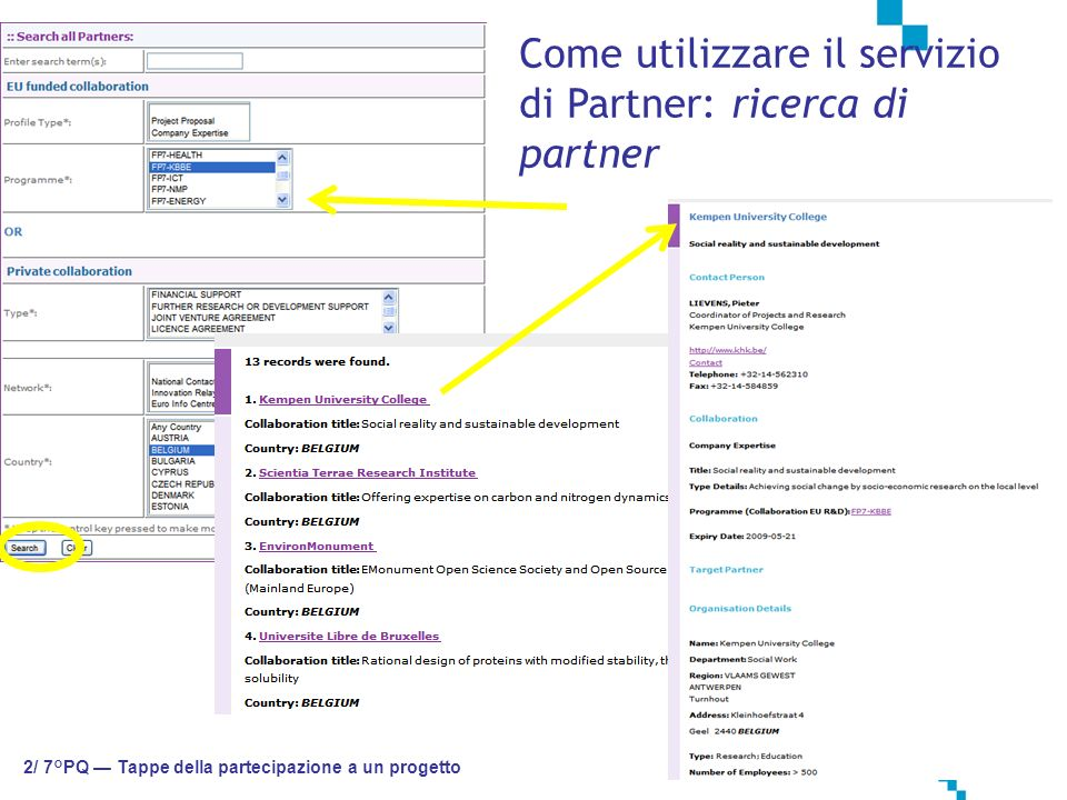 Come utilizzare il servizio di Partner: ricerca di partner 2/ 7°PQ Tappe della partecipazione a un progetto
