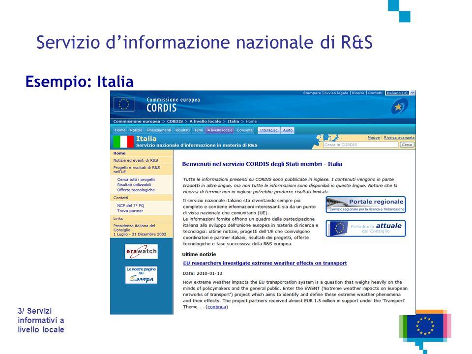 Servizio dinformazione nazionale di R&S Esempio: Italia 3/ Servizi informativi a livello locale
