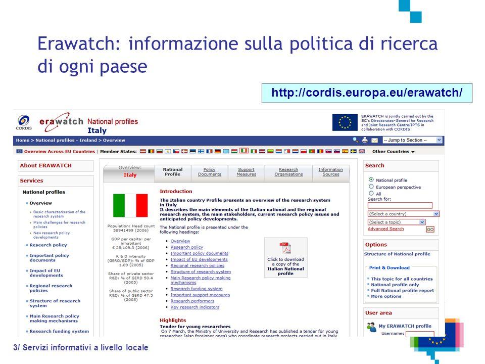 Erawatch: informazione sulla politica di ricerca di ogni paese http://cordis.europa.eu/erawatch/ 3/ Servizi informativi a livello locale