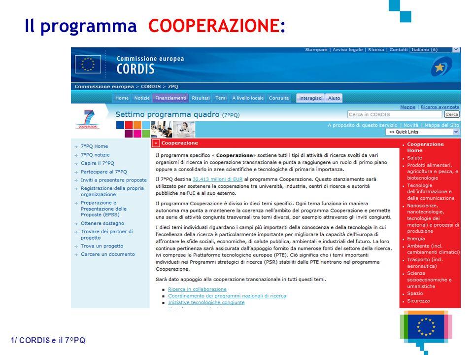 Il programma COOPERAZIONE: 1/ CORDIS e il 7°PQ