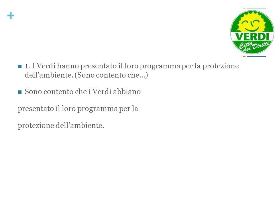 + 1. I Verdi hanno presentato il loro programma per la protezione dell'ambiente. (Sono contento che...) Sono contento che i Verdi abbiano presentato i