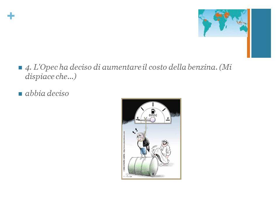 + 4. L'Opec ha deciso di aumentare il costo della benzina. (Mi dispiace che...) abbia deciso