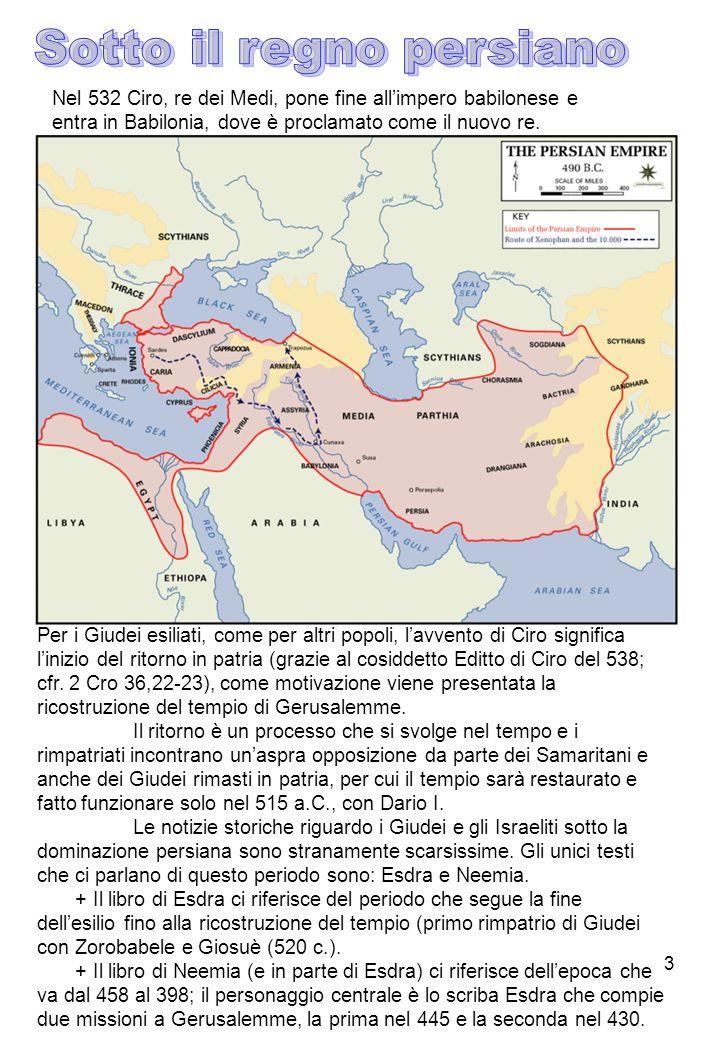 3 Nel 532 Ciro, re dei Medi, pone fine allimpero babilonese e entra in Babilonia, dove è proclamato come il nuovo re. Per i Giudei esiliati, come per