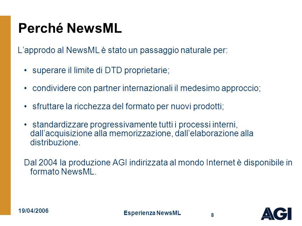 19/04/2006 Esperienza NewsML 9 Struttura del NewsML