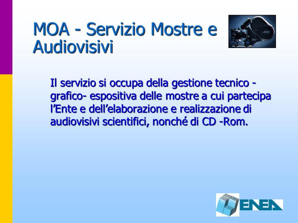 MOA - Servizio Mostre e Audiovisivi Il servizio si occupa della gestione tecnico - grafico- espositiva delle mostre a cui partecipa lEnte e dellelabor
