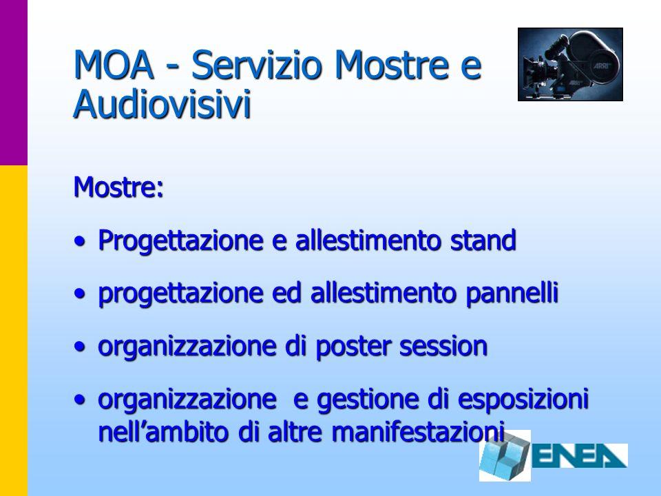 MOA - Servizio Mostre e Audiovisivi Mostre: Progettazione e allestimento standProgettazione e allestimento stand progettazione ed allestimento pannell