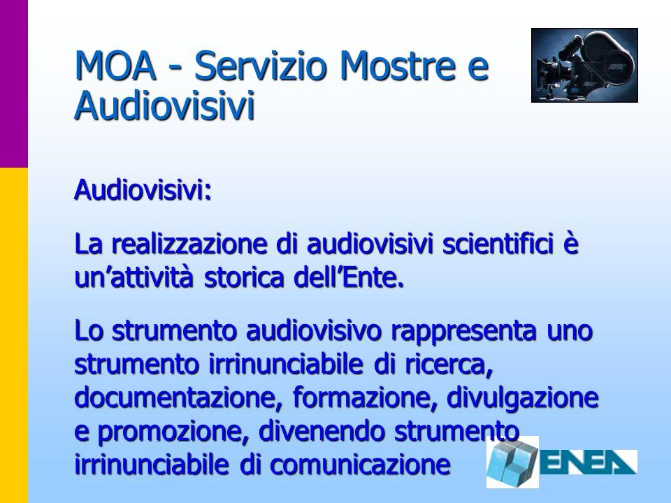 MOA - Servizio Mostre e Audiovisivi Audiovisivi: La realizzazione di audiovisivi scientifici è unattività storica dellEnte. Lo strumento audiovisivo r