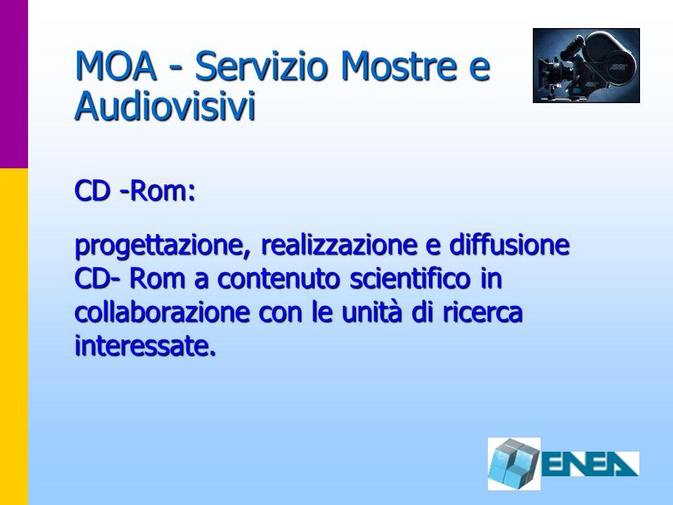 MOA - Servizio Mostre e Audiovisivi CD -Rom: progettazione, realizzazione e diffusione CD- Rom a contenuto scientifico in collaborazione con le unità