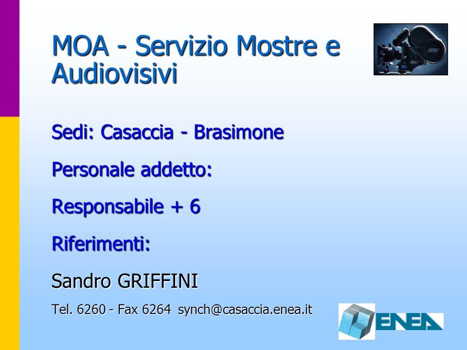 MOA - Servizio Mostre e Audiovisivi Sedi: Casaccia - Brasimone Personale addetto: Responsabile + 6 Riferimenti: Sandro GRIFFINI Tel. 6260 - Fax 6264 s