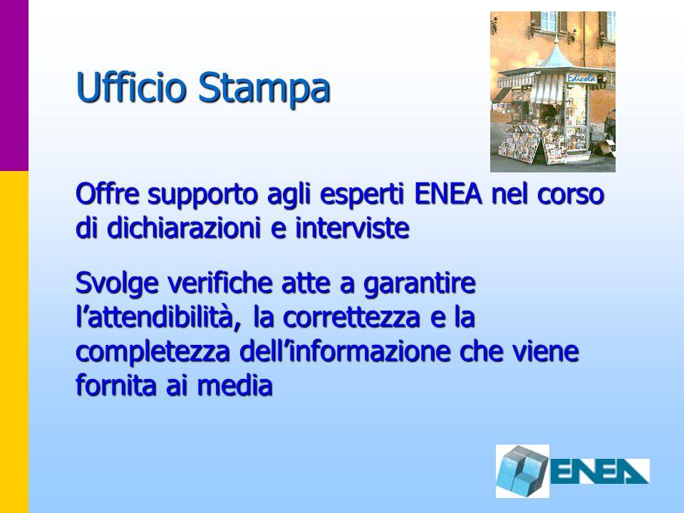 Ufficio Stampa Offre supporto agli esperti ENEA nel corso di dichiarazioni e interviste Svolge verifiche atte a garantire lattendibilità, la correttez
