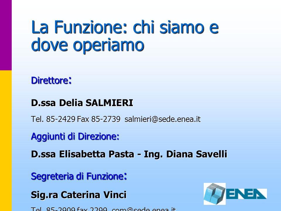 La Funzione: chi siamo e dove operiamo Direttore : D.ssa Delia SALMIERI Tel. 85-2429 Fax 85-2739 salmieri@sede.enea.it Aggiunti di Direzione: D.ssa El