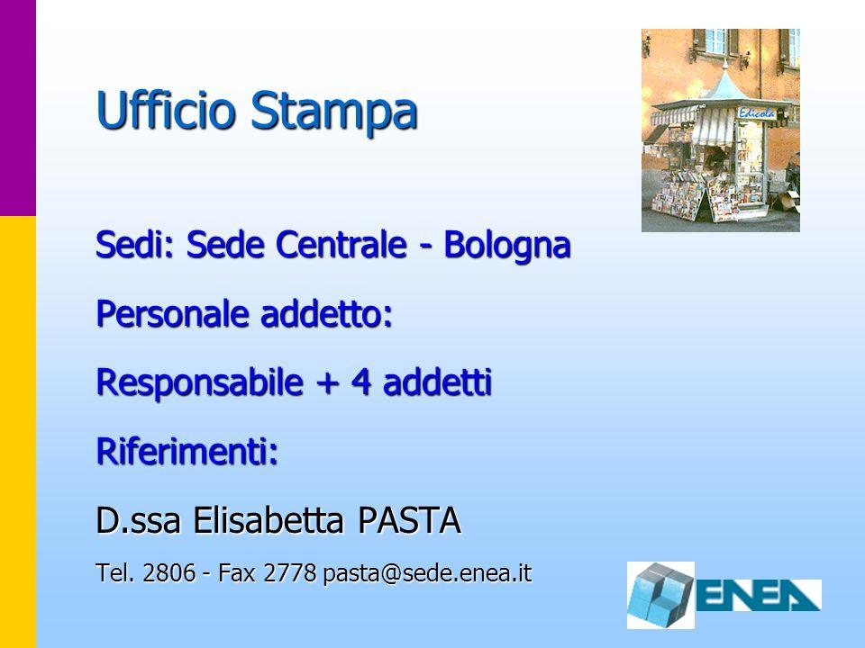 Ufficio Stampa Sedi: Sede Centrale - Bologna Personale addetto: Responsabile + 4 addetti Riferimenti: D.ssa Elisabetta PASTA Tel. 2806 - Fax 2778 past