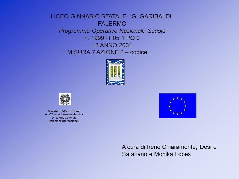 Ministero dellIstruzione, dellUniversità e della Ricerca Direzione Generale Relazioni Internazionali LICEO GINNASIO STATALE G. GARIBALDI PALERMO Progr