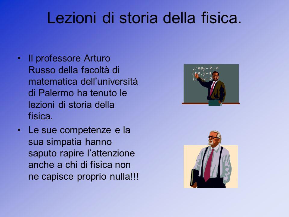 Lezioni di storia della fisica. Il professore Arturo Russo della facoltà di matematica delluniversità di Palermo ha tenuto le lezioni di storia della