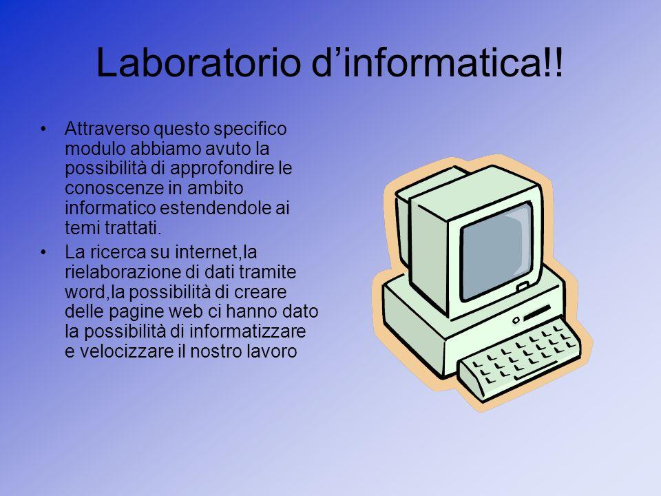 Laboratorio dinformatica!! Attraverso questo specifico modulo abbiamo avuto la possibilità di approfondire le conoscenze in ambito informatico estende
