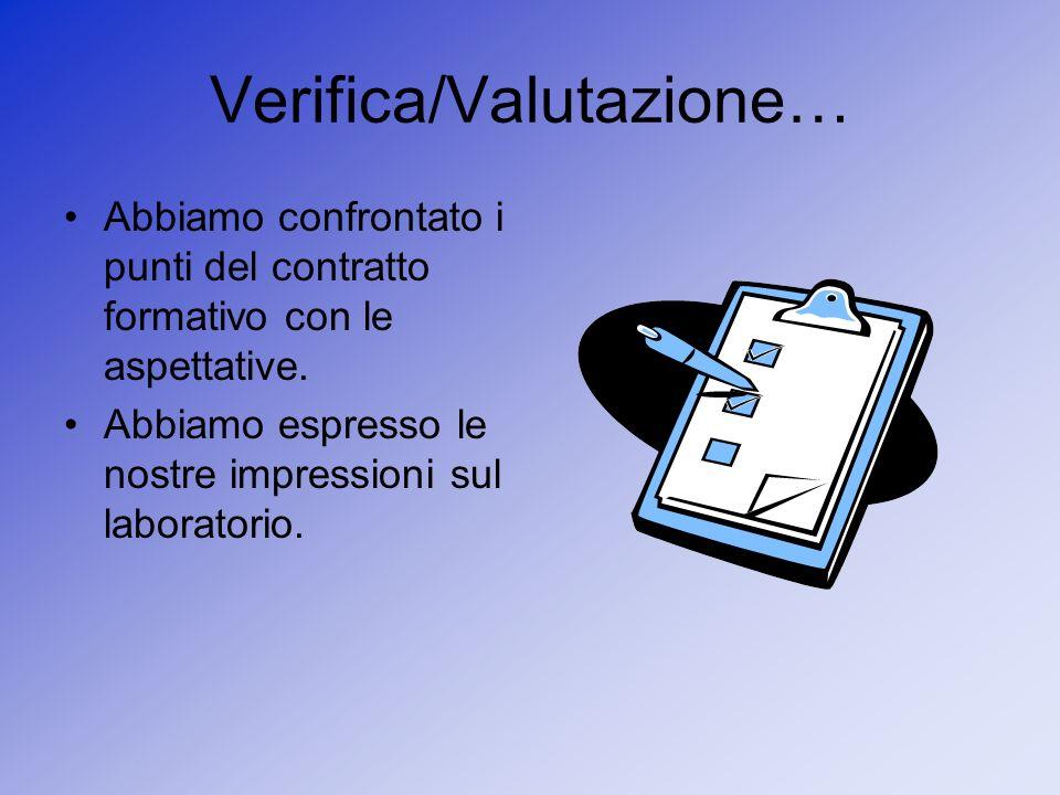 Verifica/Valutazione… Abbiamo confrontato i punti del contratto formativo con le aspettative. Abbiamo espresso le nostre impressioni sul laboratorio.