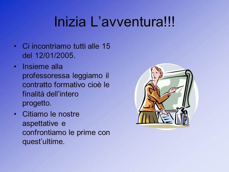 Inizia Lavventura!!! Ci incontriamo tutti alle 15 del 12/01/2005. Insieme alla professoressa leggiamo il contratto formativo cioè le finalità dellinte