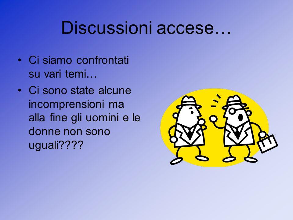 Discussioni accese… Ci siamo confrontati su vari temi… Ci sono state alcune incomprensioni ma alla fine gli uomini e le donne non sono uguali