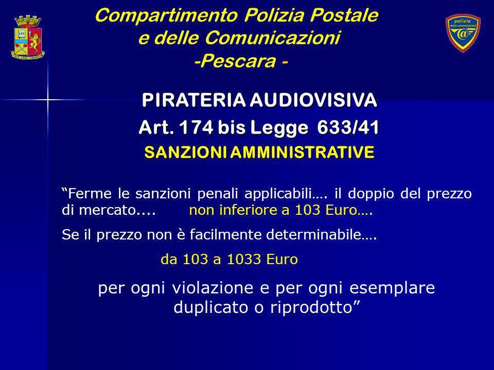 Compartimento Polizia Postale e delle Comunicazioni -Pescara - PIRATERIA AUDIOVISIVA Art. 174 bis Legge 633/41 SANZIONI AMMINISTRATIVE Ferme le sanzio