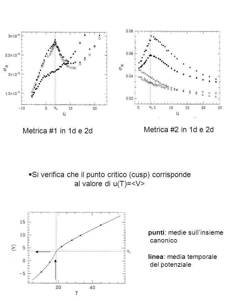 Si verifica che il punto critico (cusp) corrisponde al valore di u(T)= punti: medie sullinsieme canonico linea: media temporale del potenziale Metrica