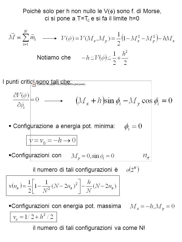Poichè solo per h non nullo le V sono f. di Morse, ci si pone a T=T c e si fa il limite h=0 I punti critici sono tali che: Notiamo che Configurazione