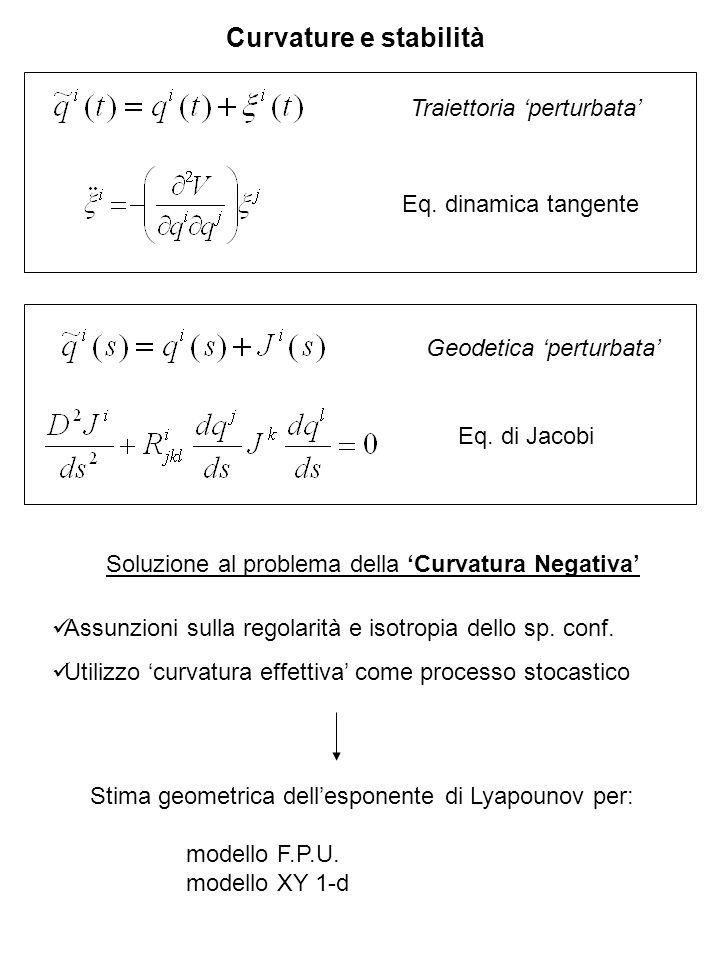 Curvature e stabilità Traiettoria perturbata Eq. dinamica tangente Geodetica perturbata Eq. di Jacobi Soluzione al problema della Curvatura Negativa A