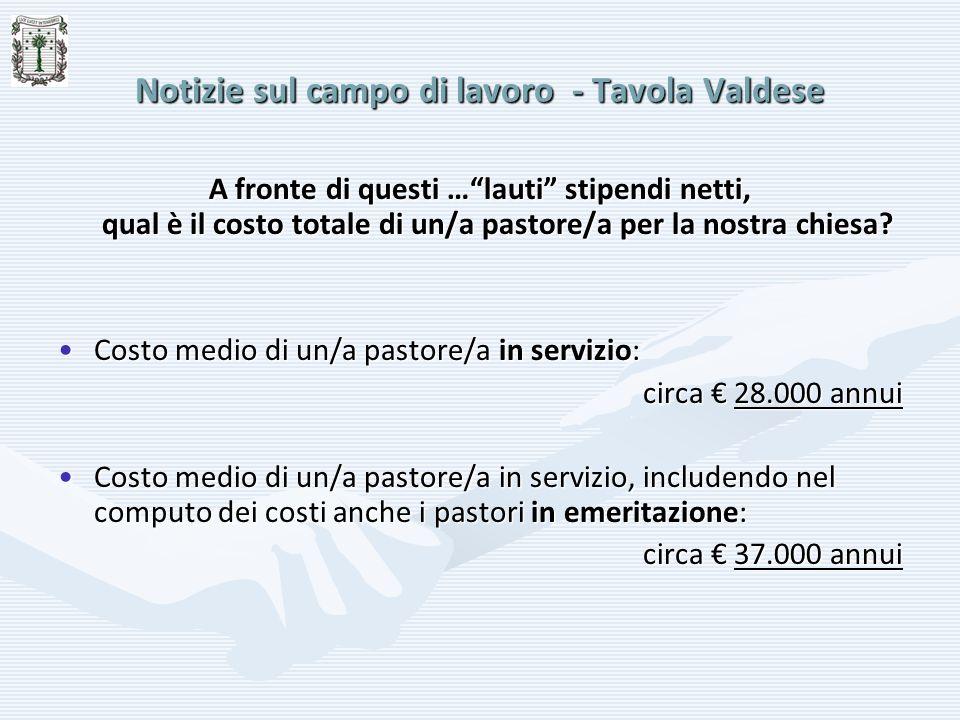 Notizie sul campo di lavoro - Tavola Valdese A fronte di questi …lauti stipendi netti, qual è il costo totale di un/a pastore/a per la nostra chiesa?