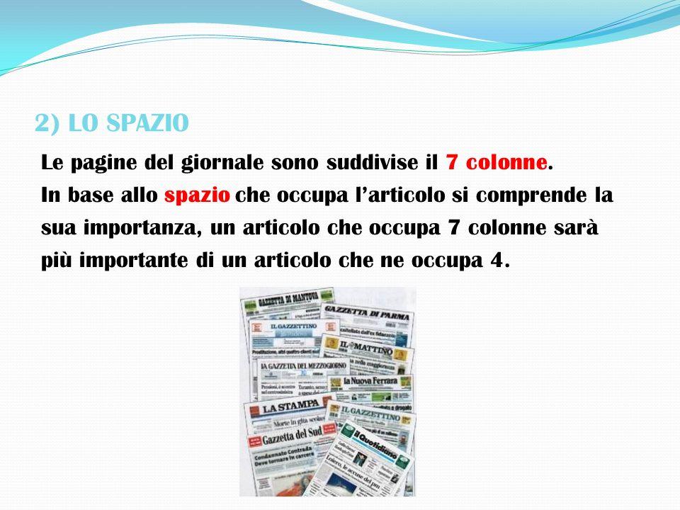 2) LO SPAZIO Le pagine del giornale sono suddivise il 7 colonne. In base allo spazio che occupa larticolo si comprende la sua importanza, un articolo