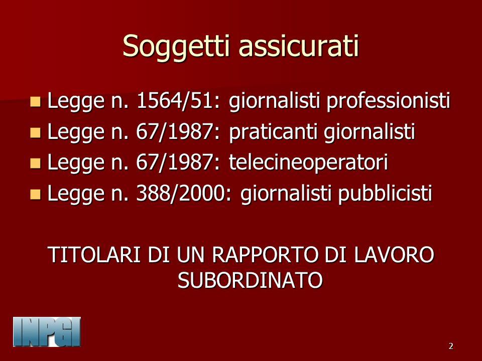 63 PENSIONI AI SUPERSTITI Reversibilità: giornalista deceduto già titolare di pensione.