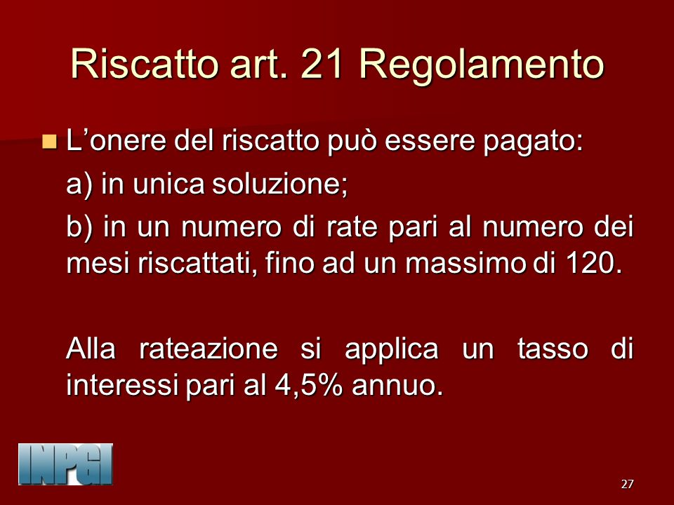 27 Riscatto art.