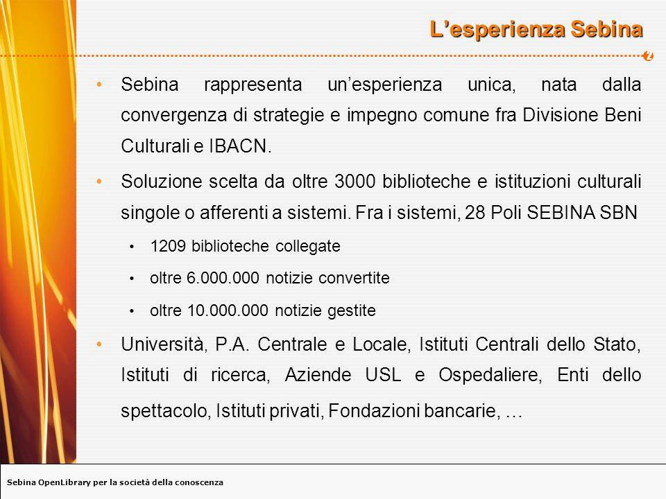 Sebina OpenLibrary per la società della conoscenza 2 Lesperienza Sebina Sebina rappresenta unesperienza unica, nata dalla convergenza di strategie e impegno comune fra Divisione Beni Culturali e IBACN.