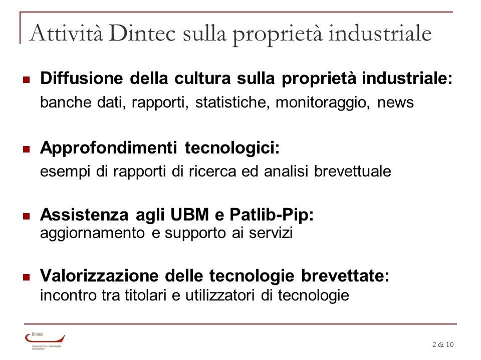 2 di 10 Attività Dintec sulla proprietà industriale Diffusione della cultura sulla proprietà industriale: banche dati, rapporti, statistiche, monitora