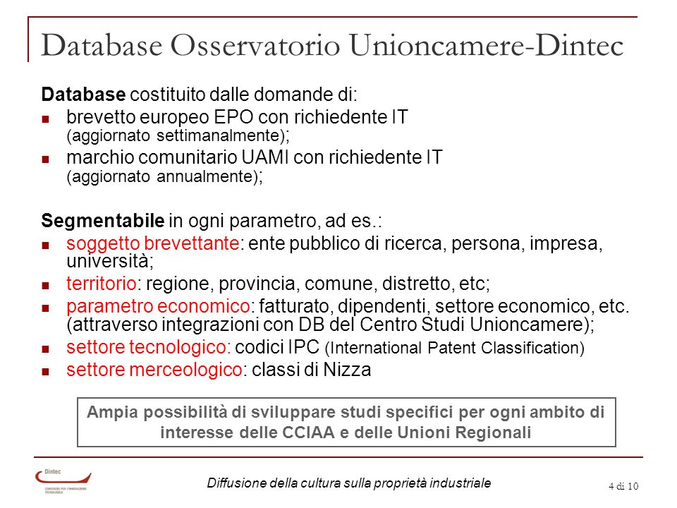4 di 10 Database Osservatorio Unioncamere-Dintec Database costituito dalle domande di: brevetto europeo EPO con richiedente IT (aggiornato settimanalm