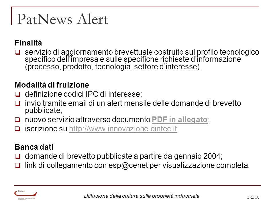 5 di 10 PatNews Alert Finalità servizio di aggiornamento brevettuale costruito sul profilo tecnologico specifico dellimpresa e sulle specifiche richie