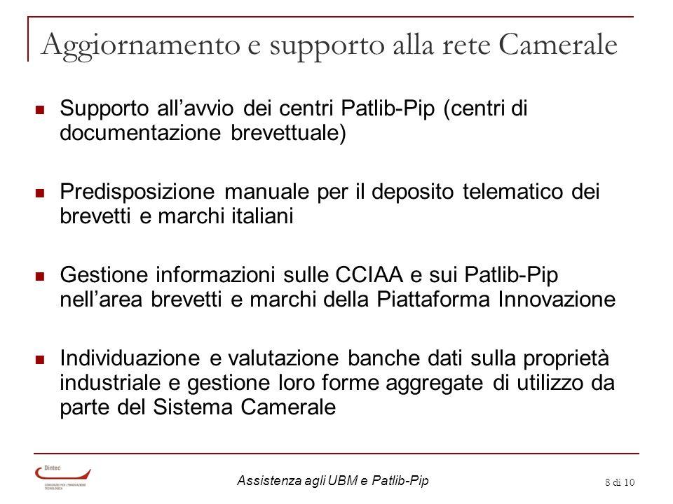 8 di 10 Aggiornamento e supporto alla rete Camerale Supporto allavvio dei centri Patlib-Pip (centri di documentazione brevettuale) Predisposizione man
