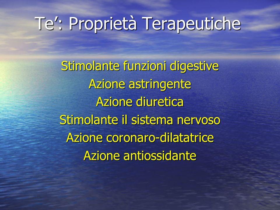 Te: Proprietà Terapeutiche Stimolante funzioni digestive Azione astringente Azione diuretica Stimolante il sistema nervoso Azione coronaro-dilatatrice
