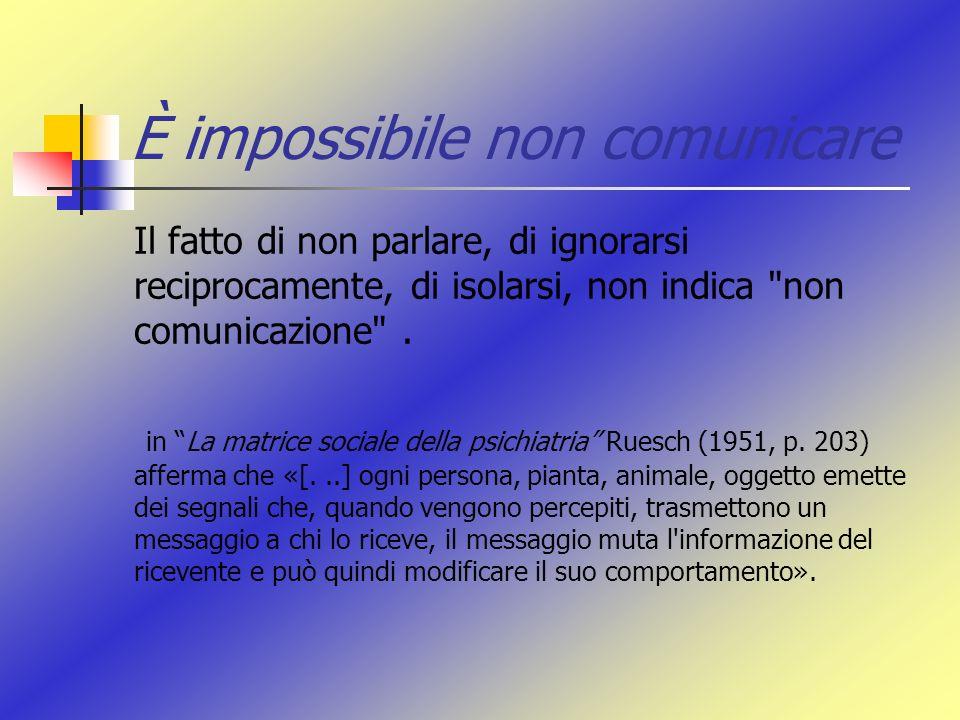 È impossibile non comunicare Il fatto di non parlare, di ignorarsi reciprocamente, di isolarsi, non indica