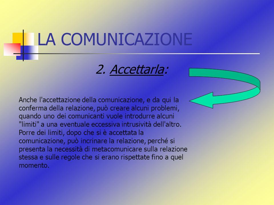 LA COMUNICAZIONE 2. Accettarla: Anche l'accettazione della comunicazione, e da qui la conferma della relazione, può creare alcuni problemi, quando uno