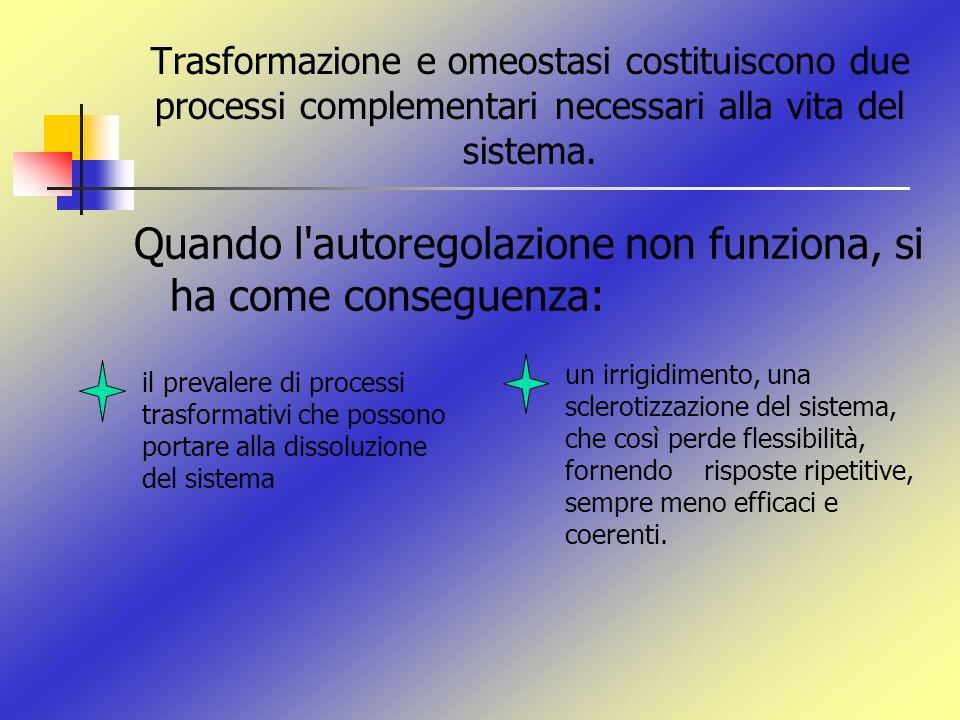 Trasformazione e omeostasi costituiscono due processi complementari necessari alla vita del sistema. Quando l'autoregolazione non funziona, si ha come