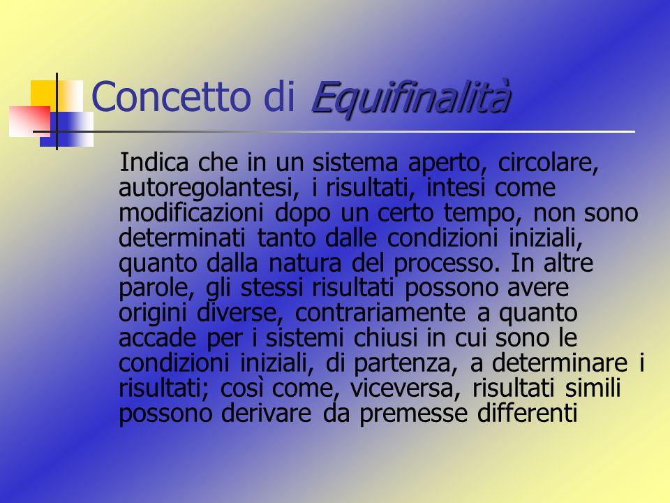 Equifinalità Concetto di Equifinalità Indica che in un sistema aperto, circolare, autoregolantesi, i risultati, intesi come modificazioni dopo un cert