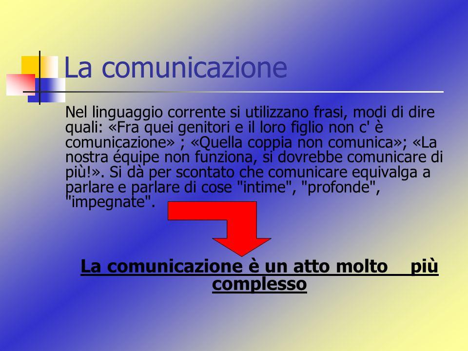 La comunicazione Nel linguaggio corrente si utilizzano frasi, modi di dire quali: «Fra quei genitori e il loro figlio non c' è comunicazione» ; «Quell