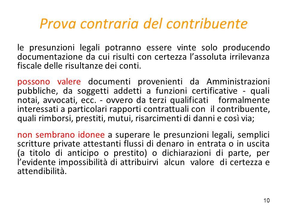 10 Prova contraria del contribuente le presunzioni legali potranno essere vinte solo producendo documentazione da cui risulti con certezza lassoluta i