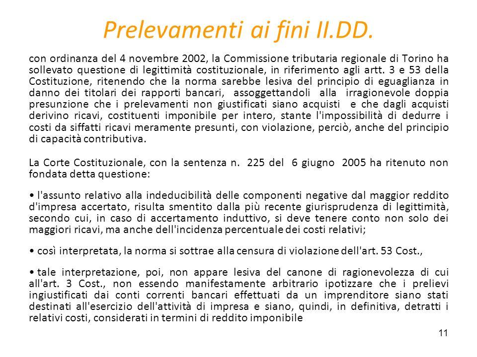11 Prelevamenti ai fini II.DD. con ordinanza del 4 novembre 2002, la Commissione tributaria regionale di Torino ha sollevato questione di legittimità