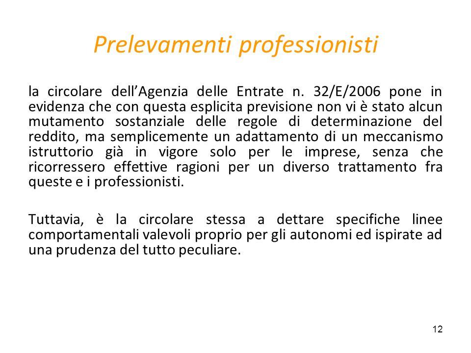 12 Prelevamenti professionisti la circolare dellAgenzia delle Entrate n. 32/E/2006 pone in evidenza che con questa esplicita previsione non vi è stato