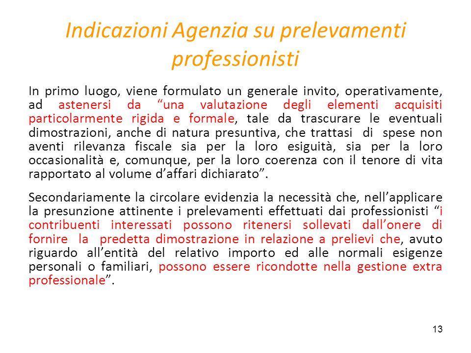 13 Indicazioni Agenzia su prelevamenti professionisti In primo luogo, viene formulato un generale invito, operativamente, ad astenersi da una valutazi